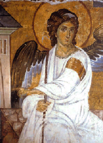 The White Angel (1235) fresco from Mileseva monastery; sent as a message in the first satellite broadcast signal from Europe to America, as a symbol of peace and civilisation Archangel Gabriel Outside Jesus' Tomb after Resurrection.png