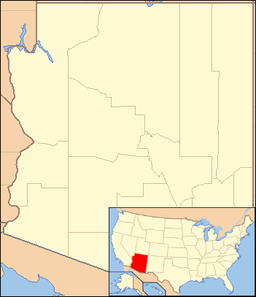 Location of Petrified Forest National Park in Arizona. Inset: Arizona in the U.S.