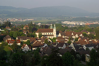 Arlesheim - View over the old town of Arlesheim and the surrounding hills