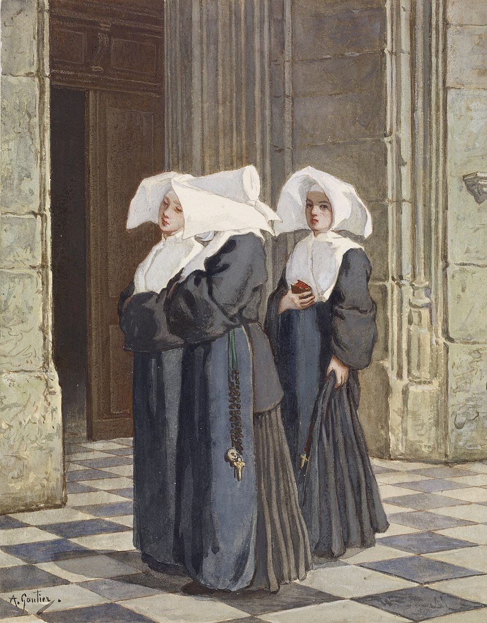 Armand Gautier - Three Nuns in the Portal of a Church - Walters 371383