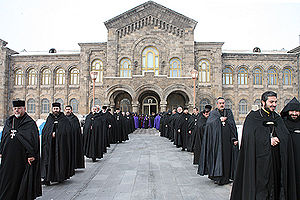 Armenian Apostolic Church - Procession of Armenian Priests.