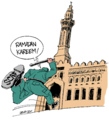 Army police chase protesters into Omar Makram mosque.png