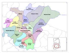 Les districts de la région d'Ashanti
