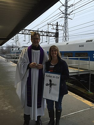 Ash Wednesday - An Episcopal priest has an Ashes to Go station for commuters at the Metro-North Railroad in the American state of Connecticut