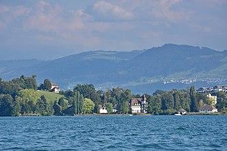 Au, Zurich - Schloss Au, the former Werdmüller estate on the peninsula