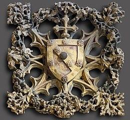Clef de voûte aux armoiries de Bernard de Rousergue (ou de Rosier)