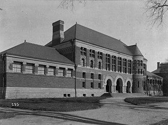 Austin Hall (Harvard University) - Austin Hall, shortly after its construction, albumen print, ca. 1883-1895
