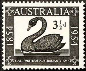 A postage stamp of Australia issued 1954 -West...
