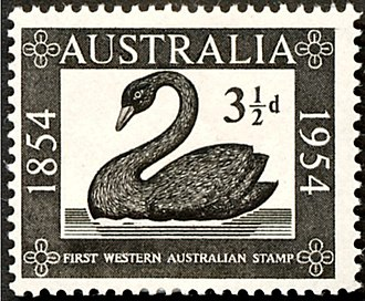 Black swan emblems and popular culture - 1954 Australian stamp commemorating the first Western Australian stamp which featured the black swan
