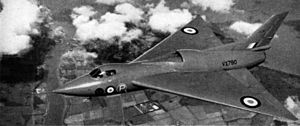 Avro 707B VX790 in flight c1951.jpg