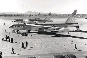 Castle Air Force Base - Three B-52Bs of the 93d Bomb Wing prepare to depart March AFB for Castle AFB, after their record-setting round-the-world flight in 1957.