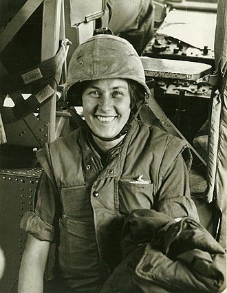 Beverly Deepe Keever - This was taken by the A.P. man on the helicopter on which we both got out of Khe Sanh (which had been heavily bombarded); March 1968.  A.P. man is unknown in 2015.