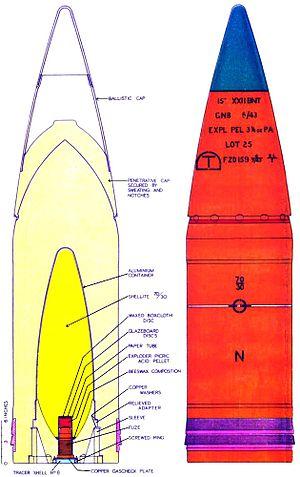 APCBC - Internal structure of British World War II naval 15-inch APCBC shell