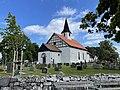 BORRE KIRKE medieval church Kirkebakken HORTEN Norway Steingjerde stone fence Kirkegård gravlund cemetery gravminner gravsteiner headstones tombstones Nyplanta trær sommer etc 2021-07-08 IMG 8047.jpg