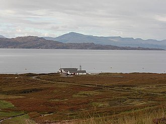 BUTEC - BUTEC Range Terminal Building on the Applecross peninsula, with the Inner Sound beyond.