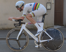 e1789f593 Bradley Wiggins wearing the rainbow skinsuit at the 2015 Paris–Nice