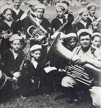 Cardinal Gibbons School (Baltimore, Maryland) - Babe Ruth with members of the St. Mary's Industrial School Band