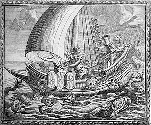 Acoetes - Sailors being transformed by Baccus aboard Acoetes's ship.
