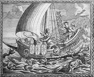 Acoetes (Bacchic myth) - Sailors being transformed by Baccus aboard Acoetes's ship.