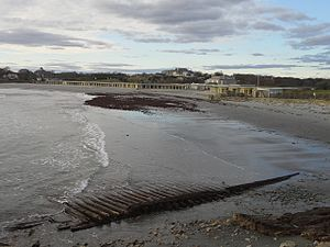 "Bailey's Beach - Bailey's Beach after Hurricane Sandy in 2012 with ""Reject's Beach"" in the foreground"