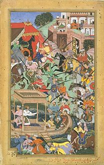 Bairam Khan is assassinated by an Afghan at Patan, 1561, Akbarnama.jpg