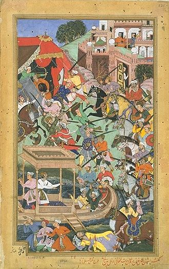 Sahastralinga Tank - Bairam Khan is assassinated by an Afghan at Patan, 1561, Akbarnama