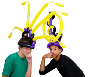 Balloon Hats Abstract on the guys