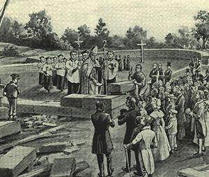 Roman Catholic Archdiocese of Baltimore - Bishop John Carroll lays the cornerstone in 1806 for the Cathedral of the Assumption on Cathedral Hill in Baltimore, first Roman Catholic cathedral to be constructed in the United States.