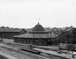 Baltimore & Ohio Railroad, Martinsburg West Roundhouse, East End of Race & Martin Streets, Martinsburg (Berkeley County, West Virginia).jpg