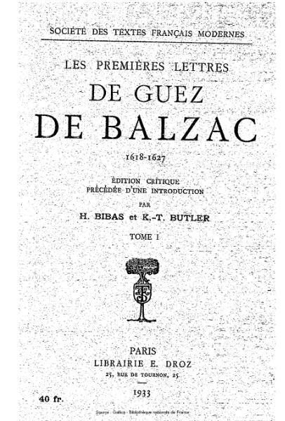 File:Balzac - Premières lettres 1618-1627, tome1.djvu