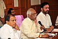 Bandaru Dattatreya addressing the review meeting with the Officials of Government of Telangana & Andhra Pradesh on Development Activities (Status & Progress), in Hyderabad.jpg