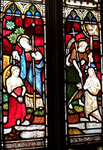 Philip the Evangelist - A stained glass diptych showing the baptisms of the Ethiopian eunuch by St. Philip the Evangelist and of Jesus Christ by St. John the Baptist, from the Cathedral of the Incarnation (Garden City, New York).