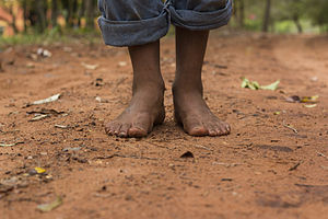 Barefoot on red dirt