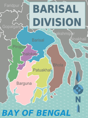 Barisal Division districts map.png