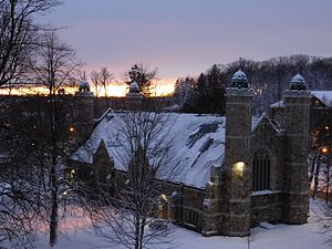 History of Bates College - The Gomes Chapel, named after Peter J. Gomes, chaplain of Harvard University. The chapel is modeled after King's College Chapel, Cambridge.