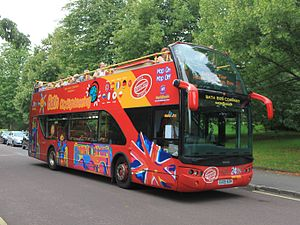 Open top bus - A modern purpose-built open top sightseeing bus in Bath, England