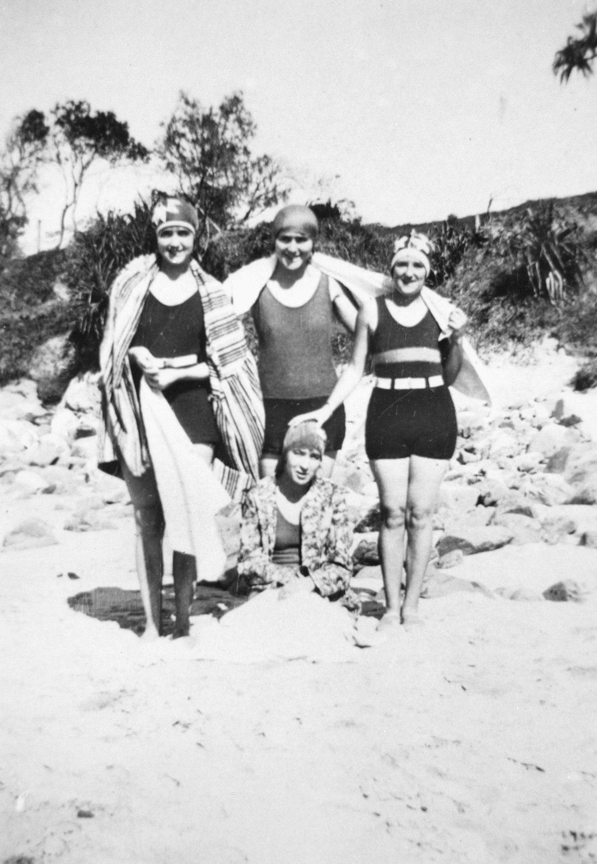 File:Bathers Enjoying A Day At Coolum Beach, 1929