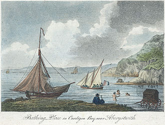 Bathing machine - Sea bathing in mid Wales c.1800. Several bathing machines can be seen
