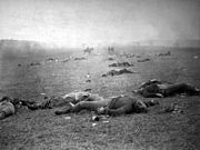 """The Harvest of Death"": Union dead on the battlefield at Gettysburg, Pennsylvania, photographed July 5 or July 6, 1863, by Timothy H. O'Sullivan."