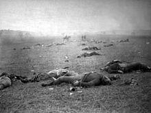 """The Harvest of Death"": Union dead on the battlefield at Gettysburg, Pennsylvania, photographed July 5 or July 6, 1863, by Timothy H. O'Sullivan"