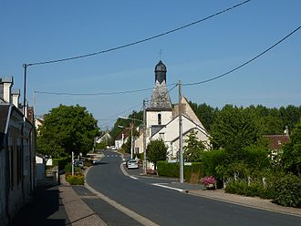 Baudres - The church and the main road in the centre of Baudres