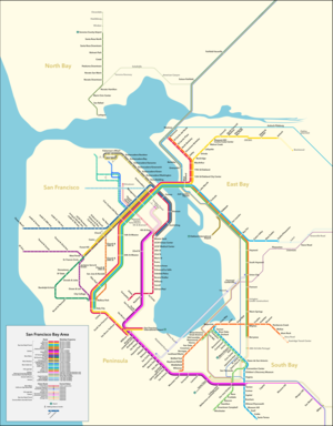 A transit map with lines depicting routes operated by various public rail agencies in the Bay Area.