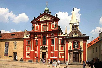 St. George's Convent, Prague - The convent building, attached to the left of the red-colored Basilica of St. George