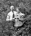 Beer, man and woman, moustache, posture, garden, drinking, double portrait Fortepan 2927.jpg