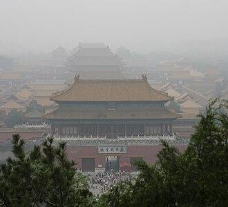 Road space rationing - Smog over Beijing's Forbidden City.