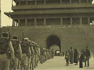 Zhengyangmen - Beiyang Army troops into the Zhengyangmen during 1920s.