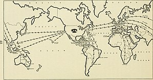 Geography of media and communication - Map of international telephone connections from Bell telephone magazine (1922); an example of media-in-spaces