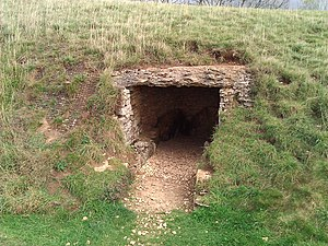 Long barrow - A view of an excavated chamber at Belas Knap