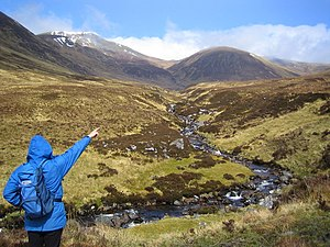 Càrn nan Gobhar (Strathfarrar) - Càrn nan Gobhar is the round hill to the right, May 2006