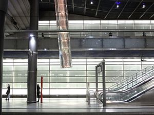 Light tube - Light tubes in the Potsdamer Platz train station in Berlin, from above and from below